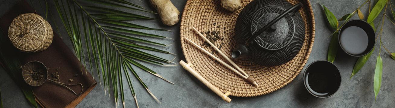 Traditional Asian tea ceremony arrangement, flat lay