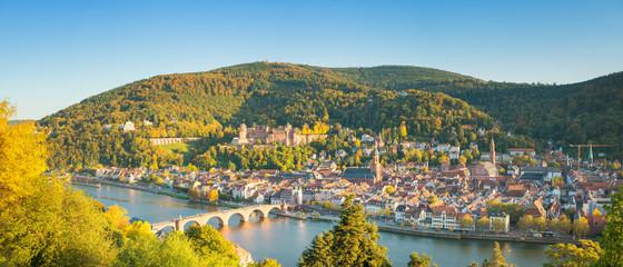 Autocollant pour porte Bleu Panoramic view of beautiful Heidelberg, Germany