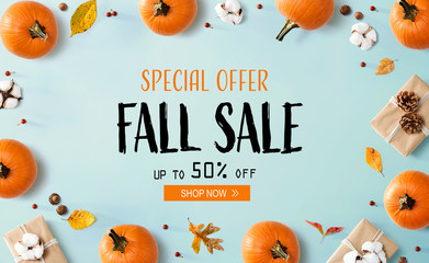 Wall Mural - Fall sale banner with autumn pumpkins with gift boxes