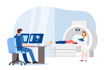 Doctor and nurse prepare for magnetic resonance imaging scan of patient. Vector illustration. MRI medical diagnostic.