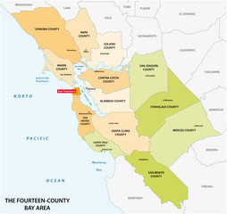 Administrative map of the California region San Francisco Bay Area