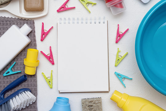 Hand wash tips. Household to do list mockup. Washing accessories flat lay background.