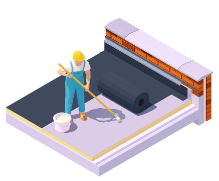 Vector isometric worker at flat roof insulation