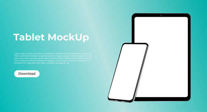 realistic smartphone and tablet template mockup for user experience presentation. Stylish concept design for websites, applications and landing pages.