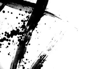 japan black ink style splatter stroke paint brush paint paper texture isolated on white background.