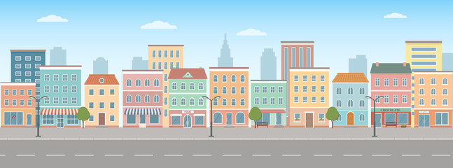 City life illustration with house facades, road and other urban details.  Panoramic view. Flat style, vector illustration. Fotomurales