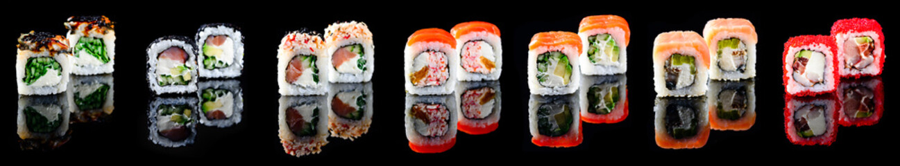 Recess Fitting Sushi bar Different kinds of sushi roll Japanese cuisiune