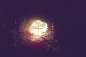 view from cave of three crosses on hill of calvary, crucifixion of Jesus Christ background, resurrection of easter concept