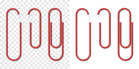 Vector set of red metallic realistic paper clip Wall mural