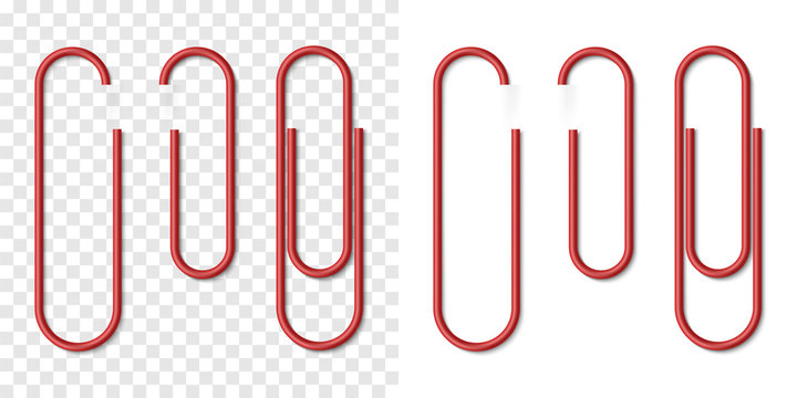 Vector set of red metallic realistic paper clip
