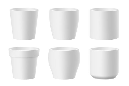 Vector set of realistic white flower pots