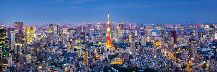 Spoed Fotobehang Tokio Cityscape of Tokyo skyline, panorama aerial skyscrapers view of office building and downtown in Tokyo in the evening. Japan, Asia.