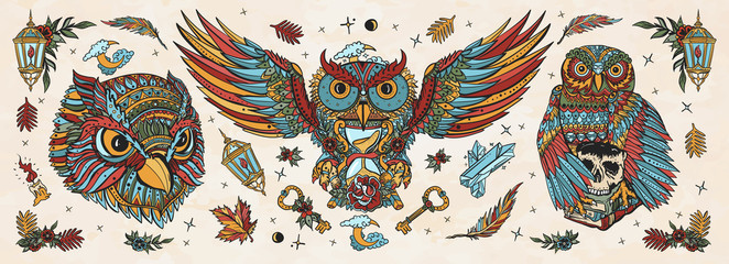 Owls heads. Old school tattoo collection. Fairy tale art. Magic birds, traditional tattooing style