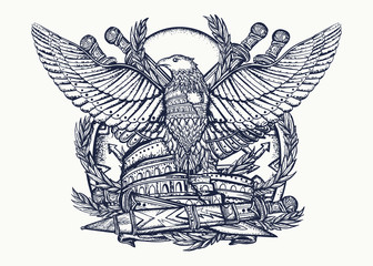 Symbol of Roman Empire.  Colosseum, eagle and crossed swords. Tattoo and t-shirt design. History of Italy. Ancient Rome art