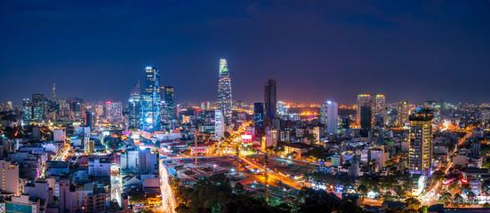 Cityscape of Ho Chi Minh City, Vietnam at night Fotomurales