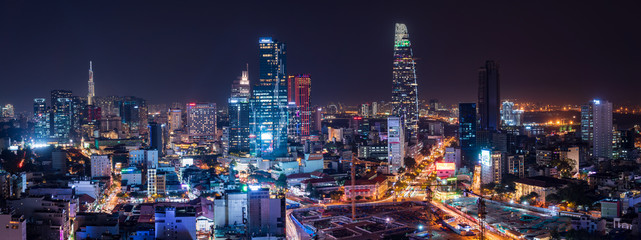 Cityscape of Ho Chi Minh City, Vietnam at night Fotobehang