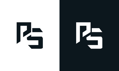 Minimalist abstract letter PS logo. This logo icon incorporate with two abstract shape in the creative process.