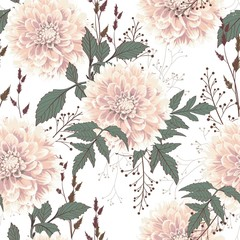 Seamless pattern of vintage beige Dahlia flowers and herbs. Floral white background.