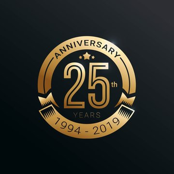 Anniversary golden badge 25 Years with gold style Vector Illustration