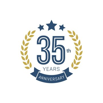 Anniversary golden badge 35 Years with gold style Vector Illustration