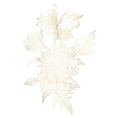 Hand drawn summer golden bouquet: rustic Dahlia, line art. Floral composition for, greeting cards, scrapbooking, print, gift wrap, manufacturing.