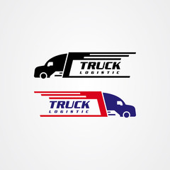 Truck silhouette icon vector design, logistics or delivery service logo.