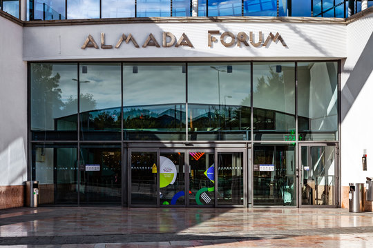 Almada, Portugal - October 24, 2019: Entrance of the Almada Forum shopping center, one of the largest shopping malls in Portugal close to Lisbon.