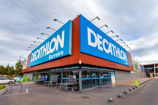 Coina, Portugal - October 23, 2019: Entrance of the Decathlon store in the Barreiro Planet Retail Park. Decathlon is a French company and the largest sporting goods retailer in the world
