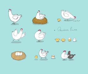 Set with cartoon cute chicken, nest and eggs. Farm animals