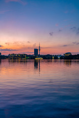 Hamburg, Germany. The Alster Lake in the evening.