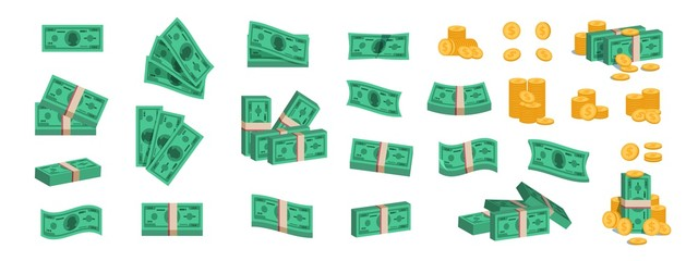Bundle of money. Currency coins and banknotes, collection of flat 3D green dollar stack. Vector cartoon image different pile of golden coins and heap bundles banknotes cash