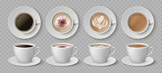 Realistic coffee cups. Espresso latte and cappuccino hot beverages, 3D mockup front and top views. Vector illustration isolated black coffee drink set on transparent background
