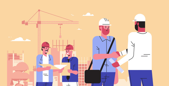 builders team shaking hands during meeting mix race engineers workers in helmet discussing new project on blueprint handshake agreement concept construction site background portrait horizontal vector