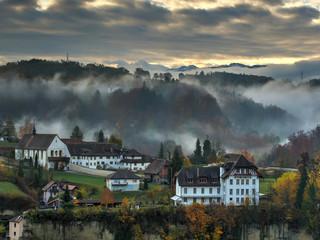 Vue sur le monastère de Montorge, Fribourg, Suisse
