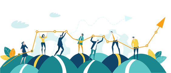 Business people, creative team holding and caring growth arrow as symbol of success, support and development. Business concept illustration Fotomurales