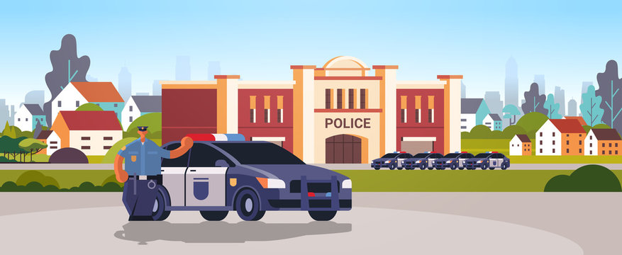city police station department building with police cars security authority justice law service concept flat horizontal vector illustration