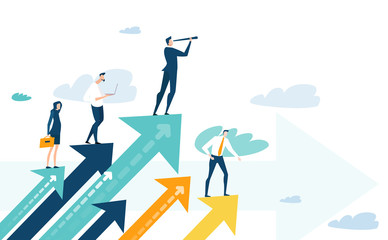 Successful businessman standing on the arrow, which pointing up as symbol of achievement, success and developing business in successful way. Businessman looking forward with the telescope. Fotobehang