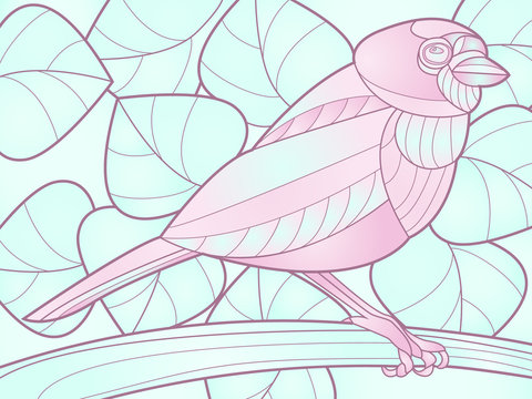 illustration of a tropical bird on a background of leaves, stained glass style