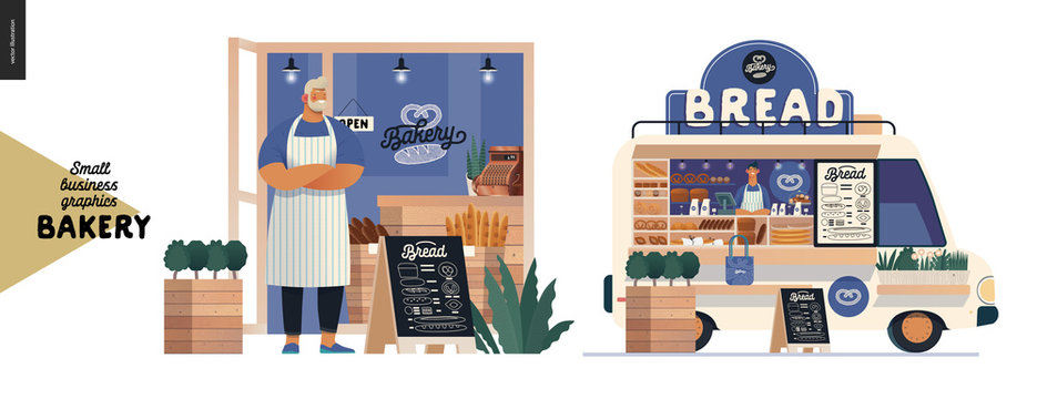 Bakery -small business illustrations -bakery owner and food truck -modern flat vector concept illustration of a baker wearing apron in front of the shop facade, bread street food truck van in the park
