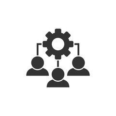 Business training icon in flat style. Gear with people vector illustration on white isolated background. Employee management concept.