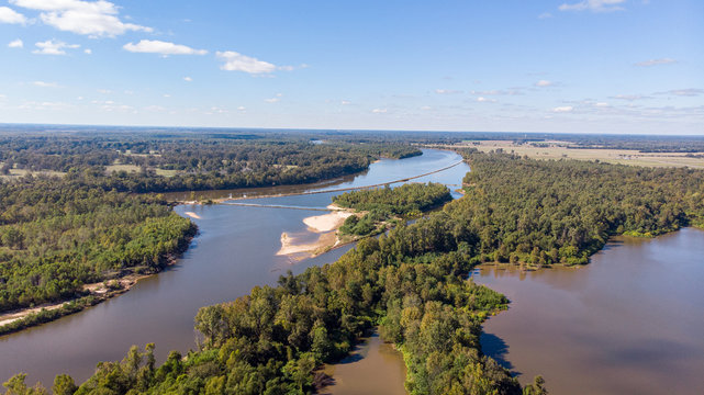 Forest top view drone red river louisiana