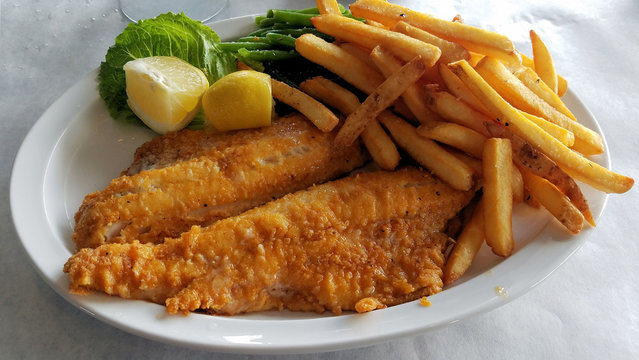 Two Walleye Fillet With French Fry Meal