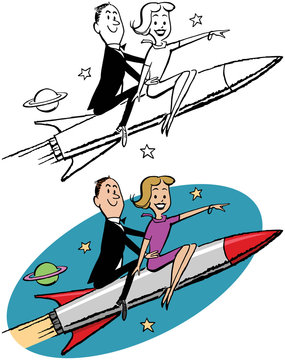 A cartoon of a couple riding on a rocket into outer space.