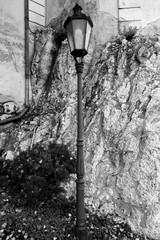 Street lamp at Mikulov Castle in BW