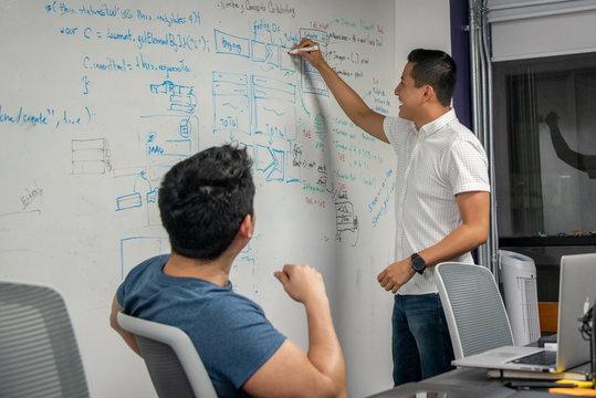 joven empresario latino en oficina, startup, lluvia de ideas y videojuegos