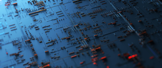 Wall Mural - Printed circuit board futuristic server/Circuit board futuristic server code processing. Orange,  green, blue technology background with bokeh. 3d rendering