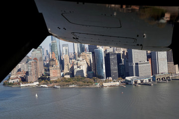 The Manhattan skyline is seen from a V-22 Osprey carrying the media covering U.S. President Donald Trump as it flies over New York.