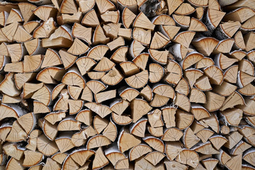 stacked birch firewood