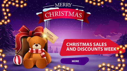 Christmas sales and discount week, horizontal discaunt banner with garland, present with Teddy bear and winter landscape on the background