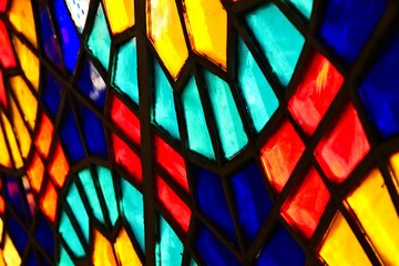 A beautiful stained glass window inside a church.